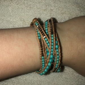 Jewelry - Teal and Brown Beaded Wrap Bracelet